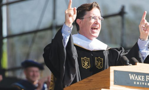 Colbert jokes, gives WFU grads advice: Set your own standard