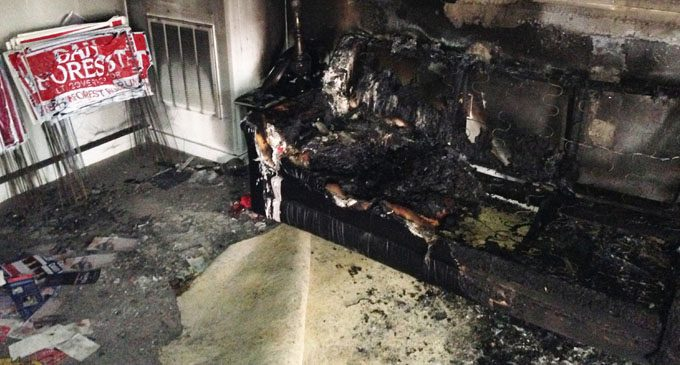 Firebombed GOP office reopens