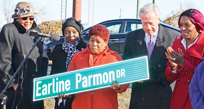 Part of Maple Street renamed for Earline Parmon