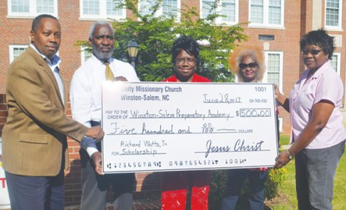 Church makes donation to Watts Scholarship Fund