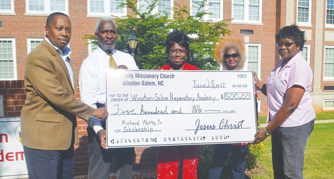 Church makes donation to Watts Scholarship Fund