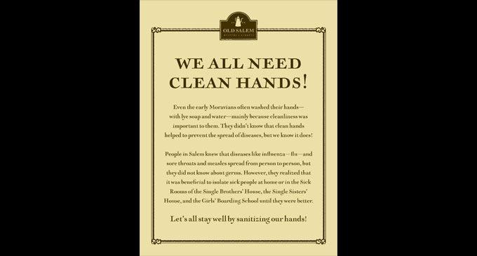 Old Salem promotes clean hands during flu season
