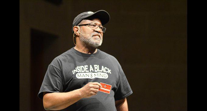 Ron Stallworth of 'BlacKkKlansman' speaks on the campus of Wake Forest University