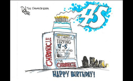 Editorial Cartoon: The Chronicle's 45th Birthday
