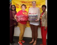 Education sorority meets with Family Services Domestic Violence Shelter representative