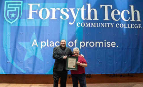 Forsyth Technical Community College presents Andrea Drum Kepple with the Order of the Long Leaf Pine
