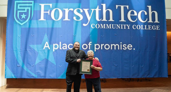 Forsyth Technical Community College presents Andrea Drum Kepple with theOrder of the Long Leaf Pine