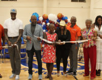 Josh Howard's name etched in gym floor
